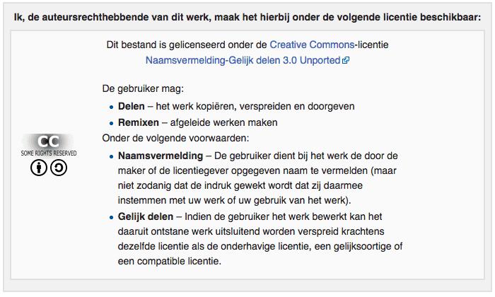 Wikimedia Commons licentie overzicht